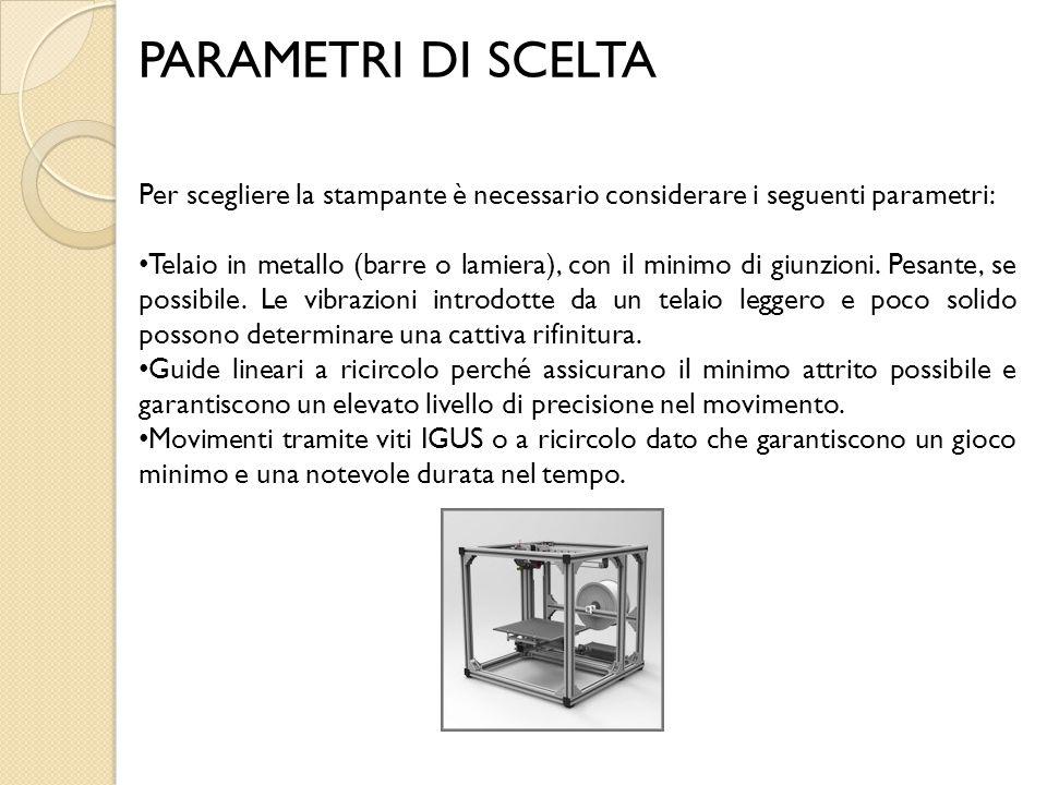 PARAMETRI DI SCELTA Per scegliere la stampante è necessario considerare i seguenti parametri: Telaio in metallo (barre o lamiera), con il minimo di gi