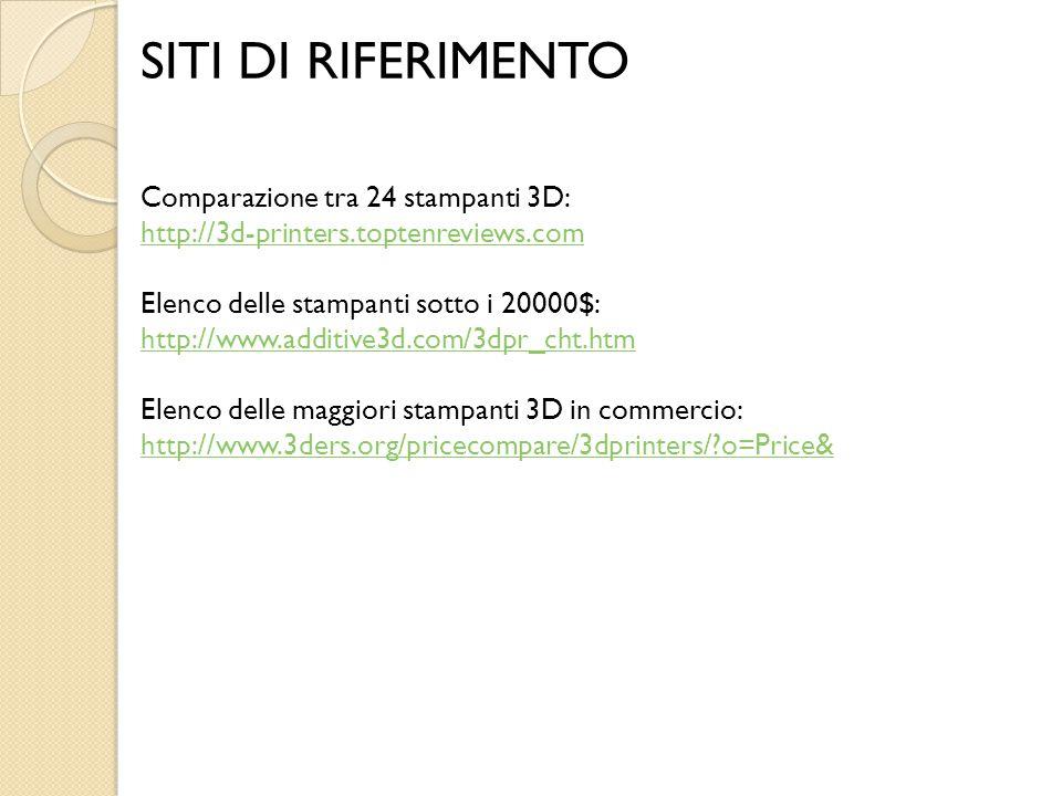 SITI DI RIFERIMENTO Comparazione tra 24 stampanti 3D: http://3d-printers.toptenreviews.com Elenco delle stampanti sotto i 20000$: http://www.additive3