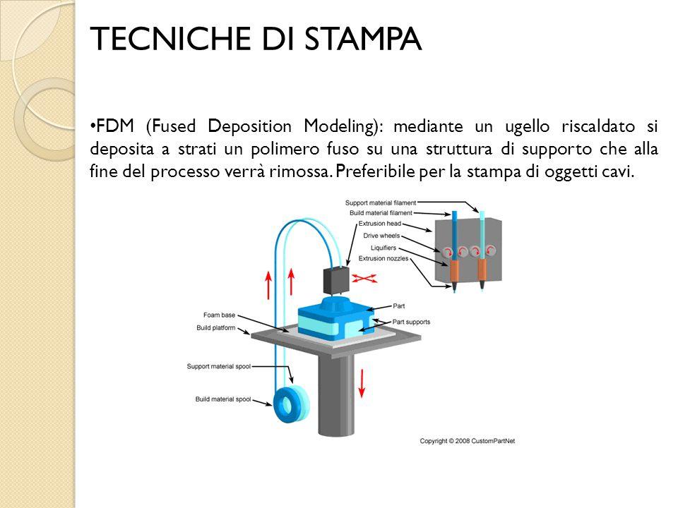 TECNICHE DI STAMPA FDM (Fused Deposition Modeling): mediante un ugello riscaldato si deposita a strati un polimero fuso su una struttura di supporto c