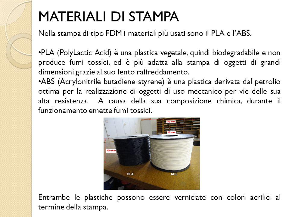 MATERIALI DI STAMPA Nella stampa di tipo FDM i materiali più usati sono il PLA e l'ABS. PLA (PolyLactic Acid) è una plastica vegetale, quindi biodegra