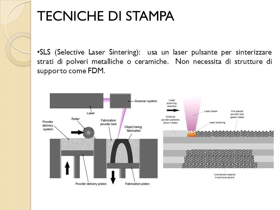 TECNICHE DI STAMPA SLS (Selective Laser Sintering): usa un laser pulsante per sinterizzare strati di polveri metalliche o ceramiche. Non necessita di