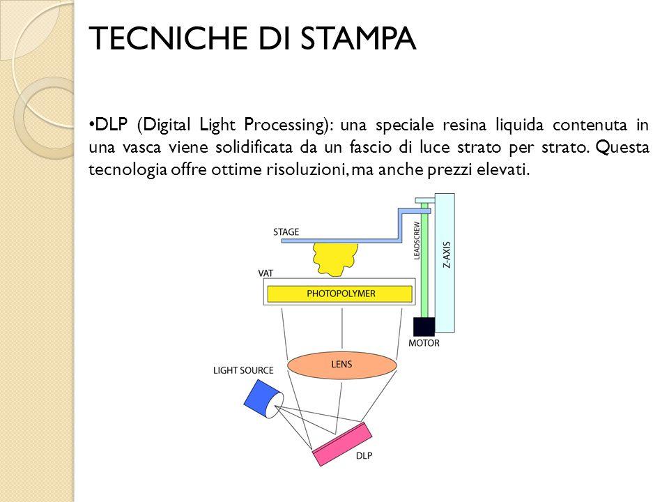 TECNICHE DI STAMPA DLP (Digital Light Processing): una speciale resina liquida contenuta in una vasca viene solidificata da un fascio di luce strato p
