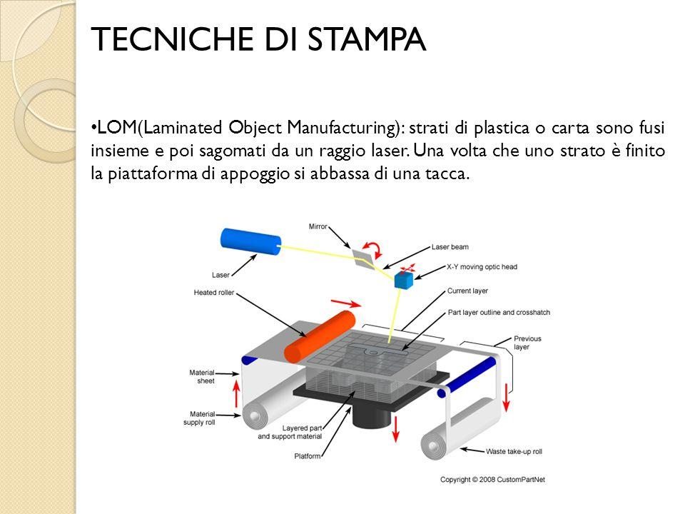 TECNICHE DI STAMPA LOM(Laminated Object Manufacturing): strati di plastica o carta sono fusi insieme e poi sagomati da un raggio laser. Una volta che
