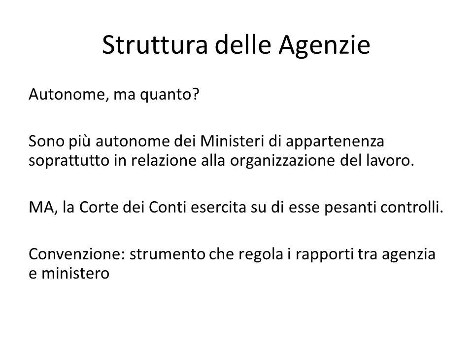 Struttura delle Agenzie Autonome, ma quanto? Sono più autonome dei Ministeri di appartenenza soprattutto in relazione alla organizzazione del lavoro.