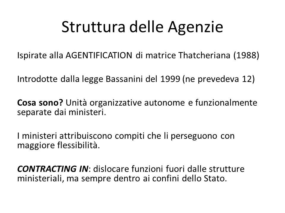Struttura delle Agenzie Ispirate alla AGENTIFICATION di matrice Thatcheriana (1988) Introdotte dalla legge Bassanini del 1999 (ne prevedeva 12) Cosa s