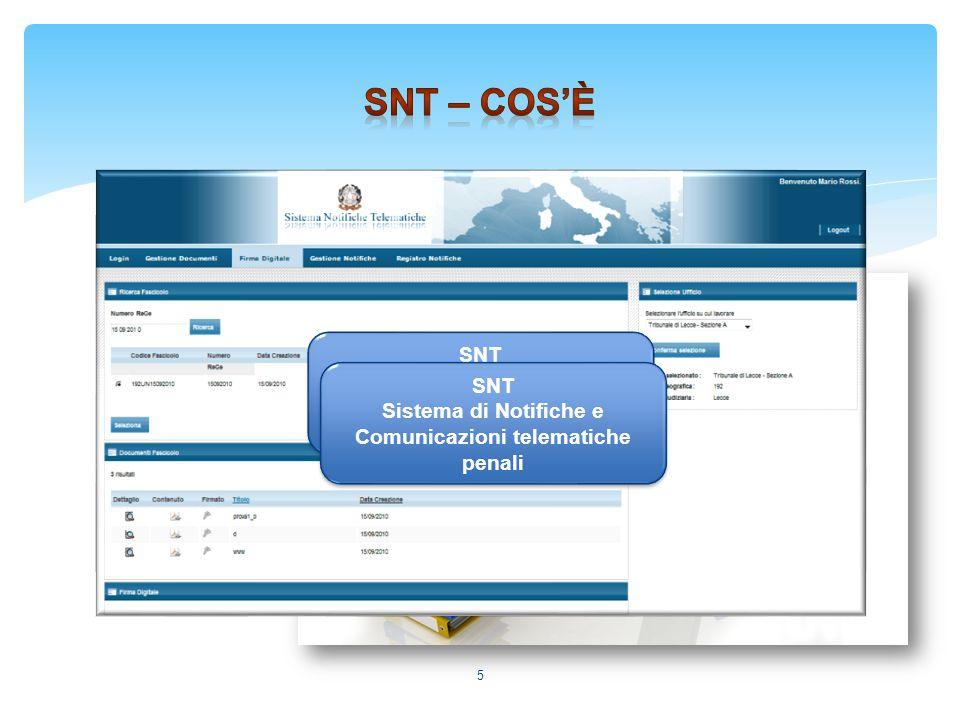 5 SNT Sistema di Notifiche e Comunicazioni telematiche penali