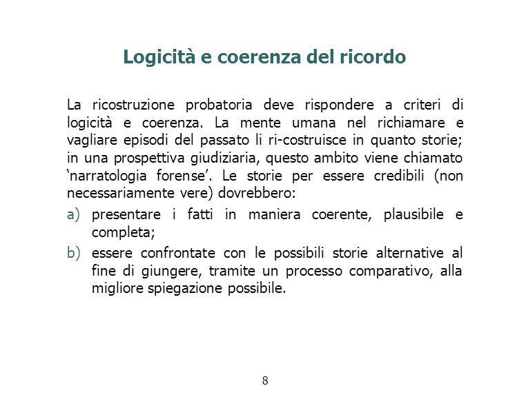 Logicità e coerenza del ricordo La ricostruzione probatoria deve rispondere a criteri di logicità e coerenza.