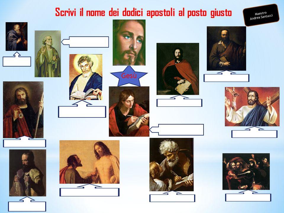 Scrivi il nome dei dodici apostoli al posto giusto Gesù