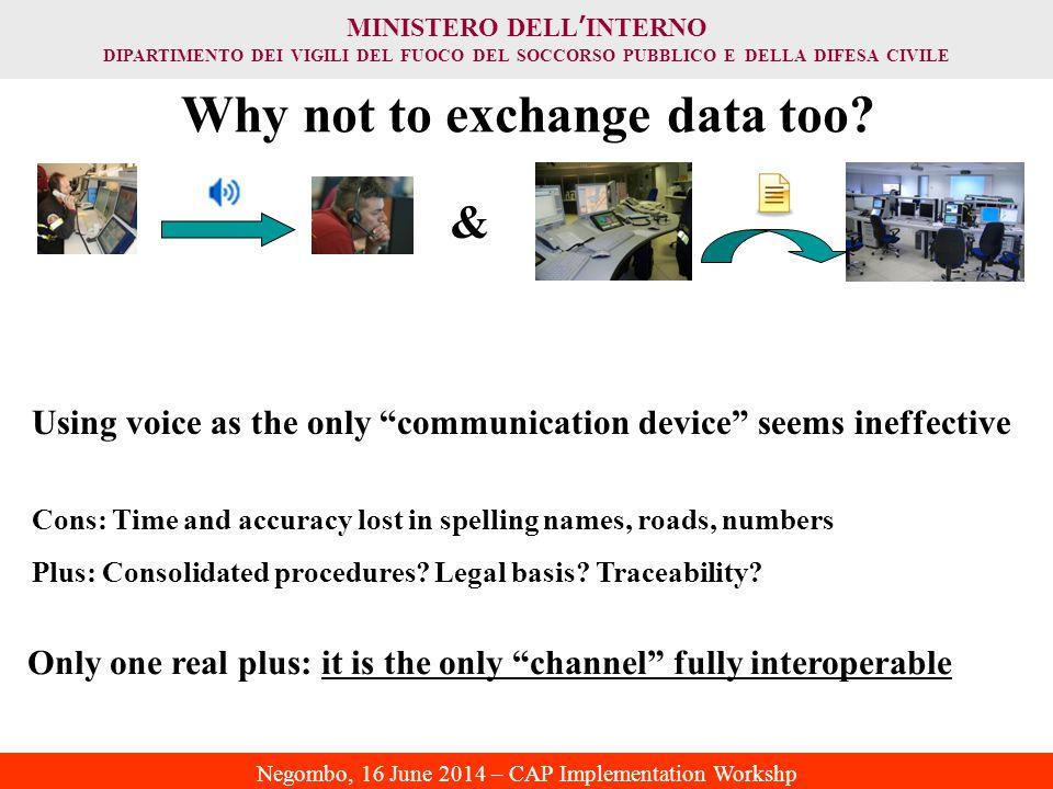 MINISTERO DELL ' INTERNO DIPARTIMENTO DEI VIGILI DEL FUOCO DEL SOCCORSO PUBBLICO E DELLA DIFESA CIVILE Negombo, 16 June 2014 – CAP Implementation Workshp Why not to exchange data too.