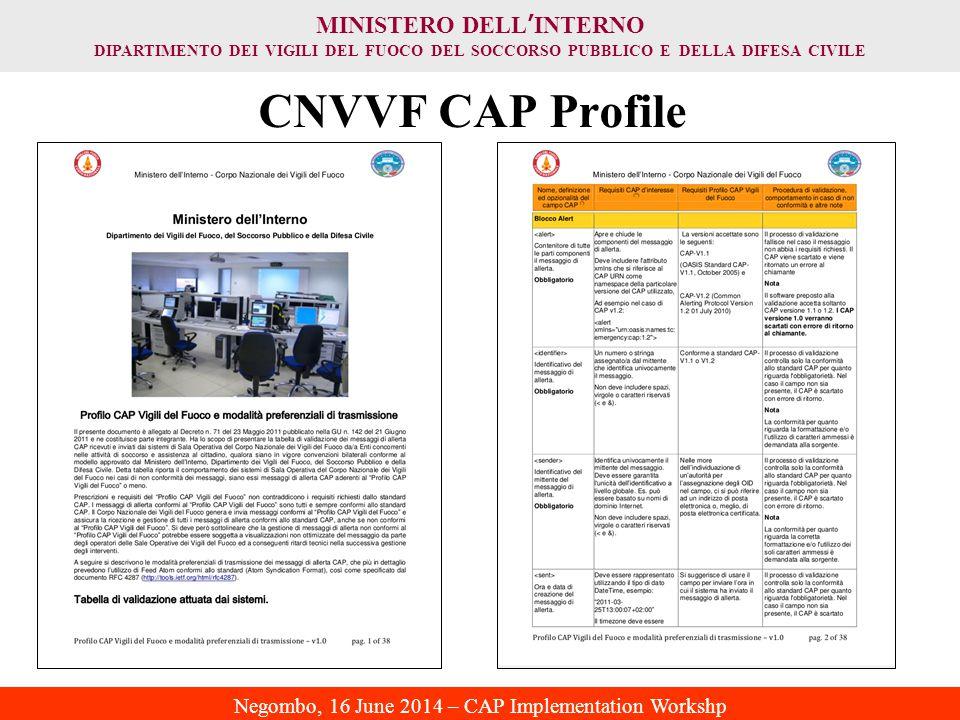 MINISTERO DELL ' INTERNO DIPARTIMENTO DEI VIGILI DEL FUOCO DEL SOCCORSO PUBBLICO E DELLA DIFESA CIVILE Negombo, 16 June 2014 – CAP Implementation Workshp CNVVF CAP Profile