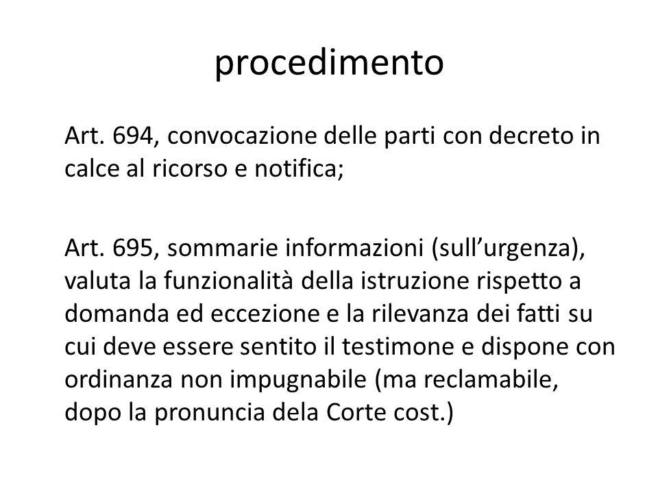 procedimento Art. 694, convocazione delle parti con decreto in calce al ricorso e notifica; Art. 695, sommarie informazioni (sull'urgenza), valuta la