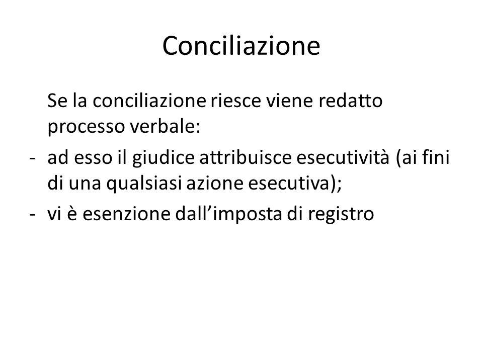 Conciliazione Se la conciliazione riesce viene redatto processo verbale: -ad esso il giudice attribuisce esecutività (ai fini di una qualsiasi azione