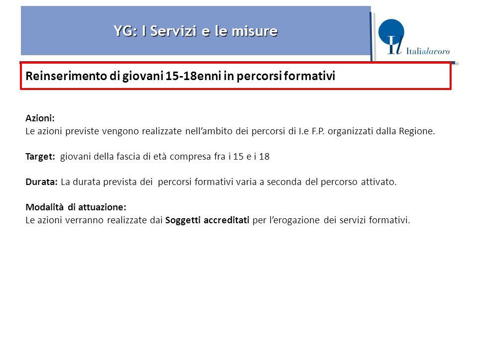 YG: I Servizi e le misure Reinserimento di giovani 15-18enni in percorsi formativi Azioni: Le azioni previste vengono realizzate nell'ambito dei percorsi di I.e F.P.