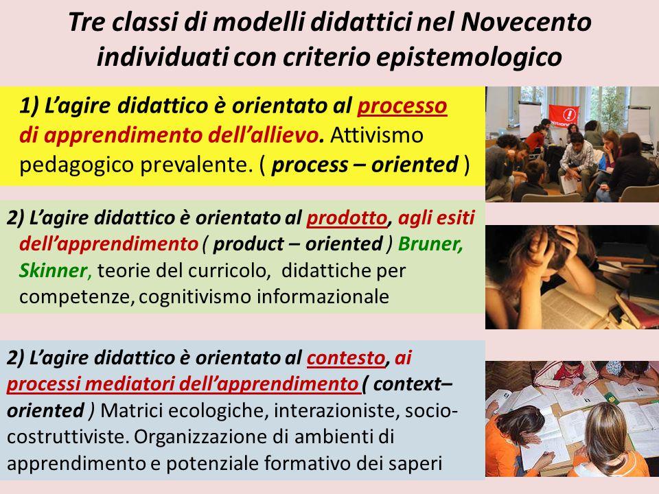 Tre classi di modelli didattici nel Novecento individuati con criterio epistemologico 1) L'agire didattico è orientato al processo di apprendimento de