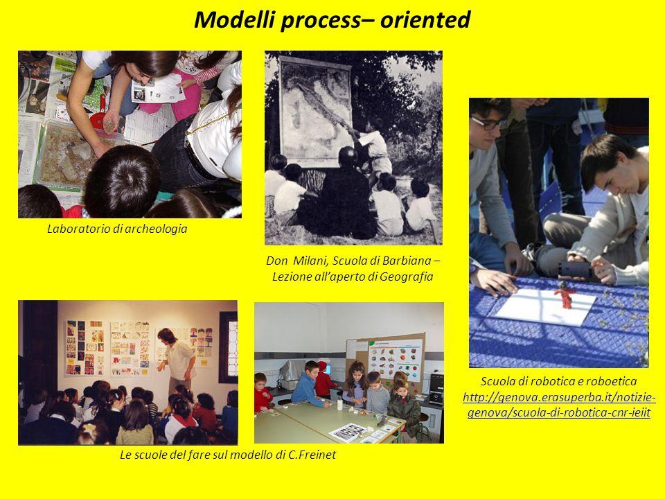 Modelli process– oriented Don Milani, Scuola di Barbiana – Lezione all'aperto di Geografia Scuola di robotica e roboetica http://genova.erasuperba.it/