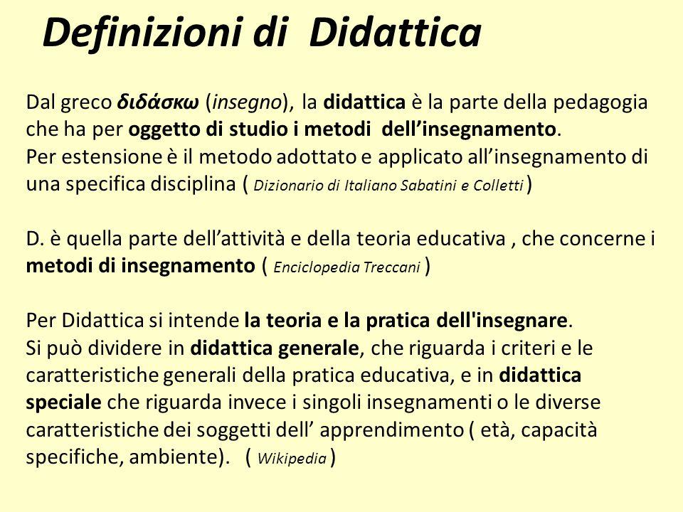 Dal greco διδάσκω (insegno), la didattica è la parte della pedagogia che ha per oggetto di studio i metodi dell'insegnamento. Per estensione è il meto