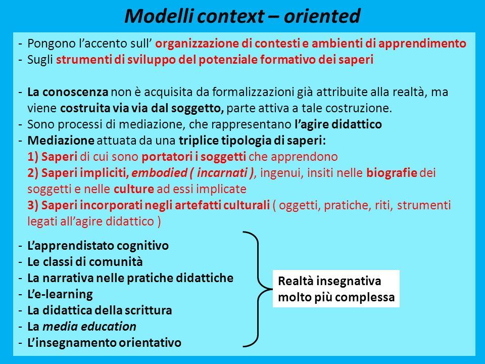 Modelli context – oriented -Pongono l'accento sull' organizzazione di contesti e ambienti di apprendimento -Sugli strumenti di sviluppo del potenziale