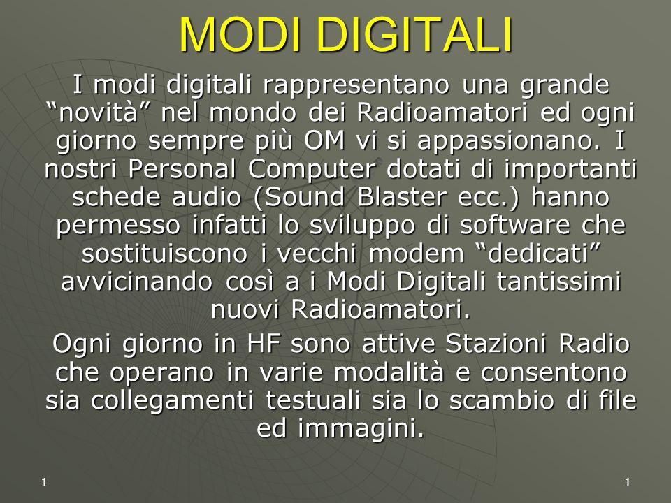 """11 MODI DIGITALI I modi digitali rappresentano una grande """"novità"""" nel mondo dei Radioamatori ed ogni giorno sempre più OM vi si appassionano. I nostr"""