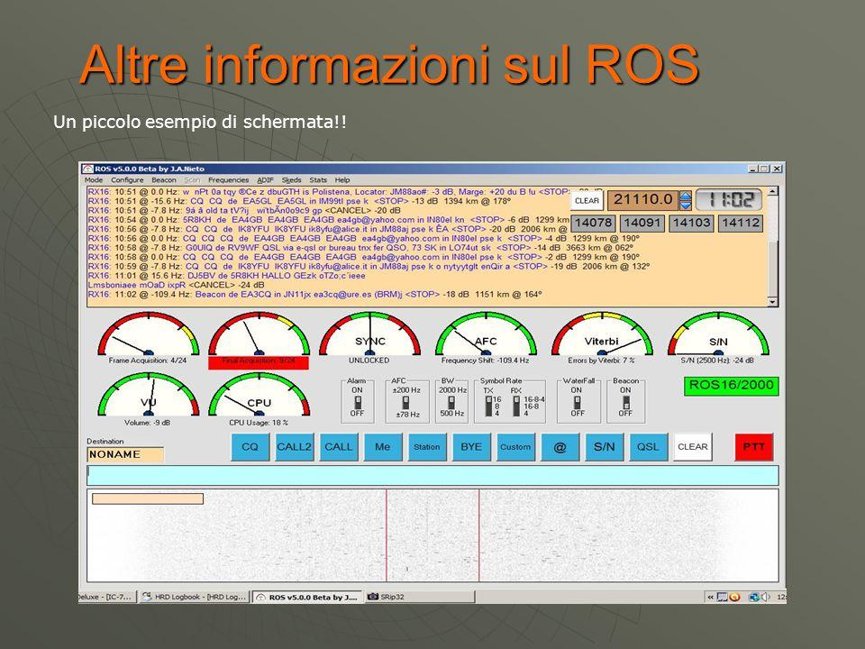 Un piccolo esempio di schermata!! Altre informazioni sul ROS