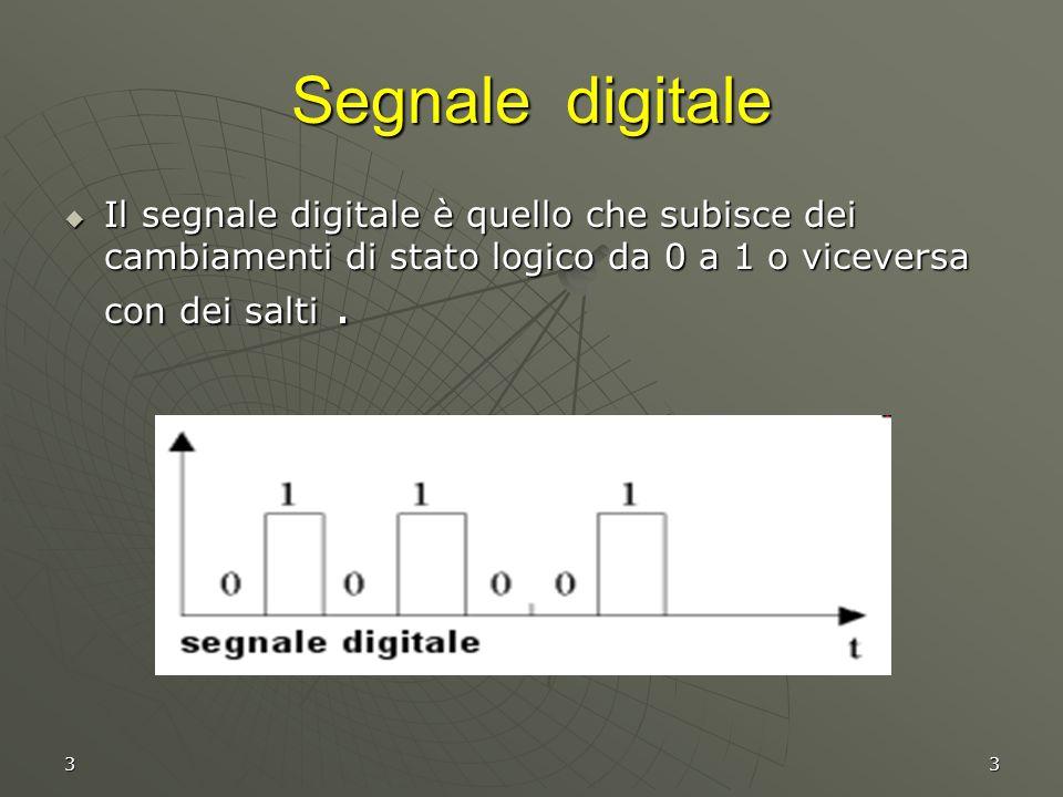 33 Segnale digitale  Il segnale digitale è quello che subisce dei cambiamenti di stato logico da 0 a 1 o viceversa con dei salti.