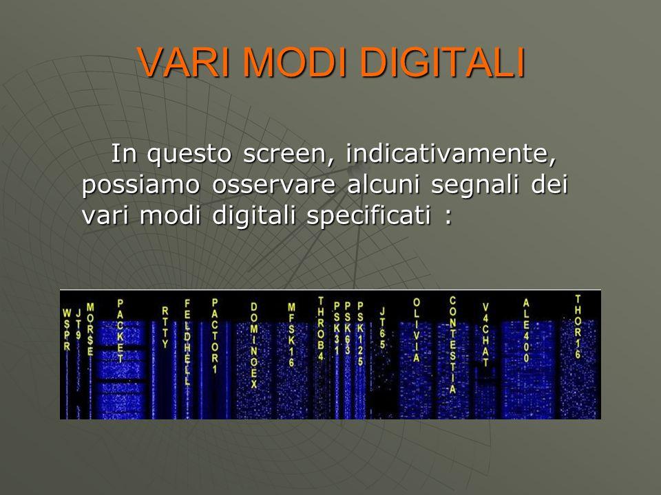 VARI MODI DIGITALI In questo screen, indicativamente, possiamo osservare alcuni segnali dei vari modi digitali specificati : In questo screen, indicat