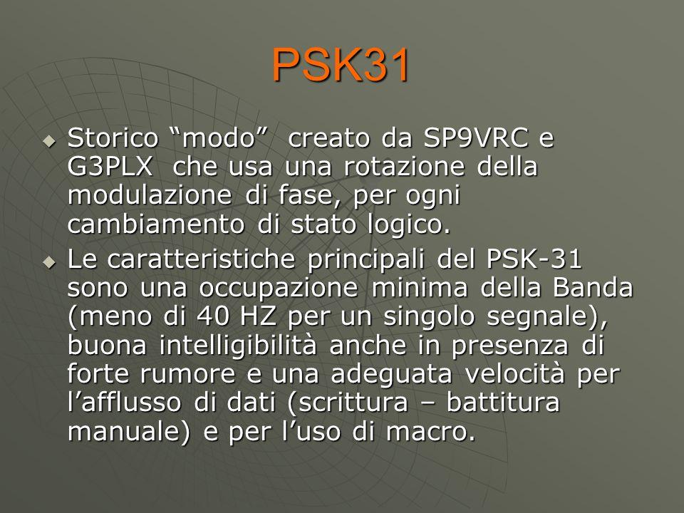 """PSK31  Storico """"modo"""" creato da SP9VRC e G3PLX che usa una rotazione della modulazione di fase, per ogni cambiamento di stato logico.  Le caratteris"""