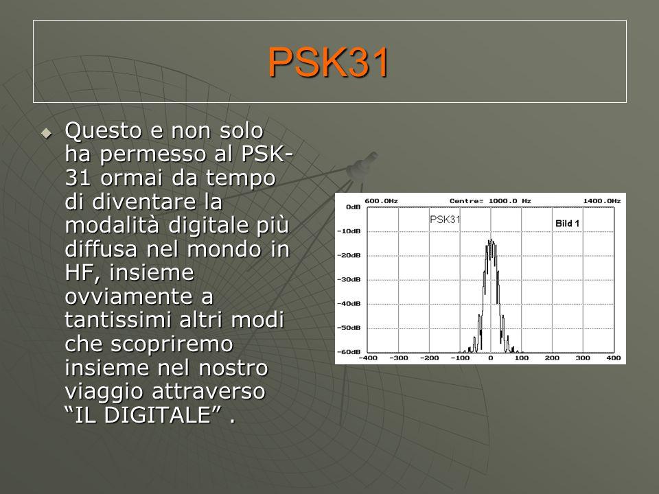 PSK31  Questo e non solo ha permesso al PSK- 31 ormai da tempo di diventare la modalità digitale più diffusa nel mondo in HF, insieme ovviamente a ta