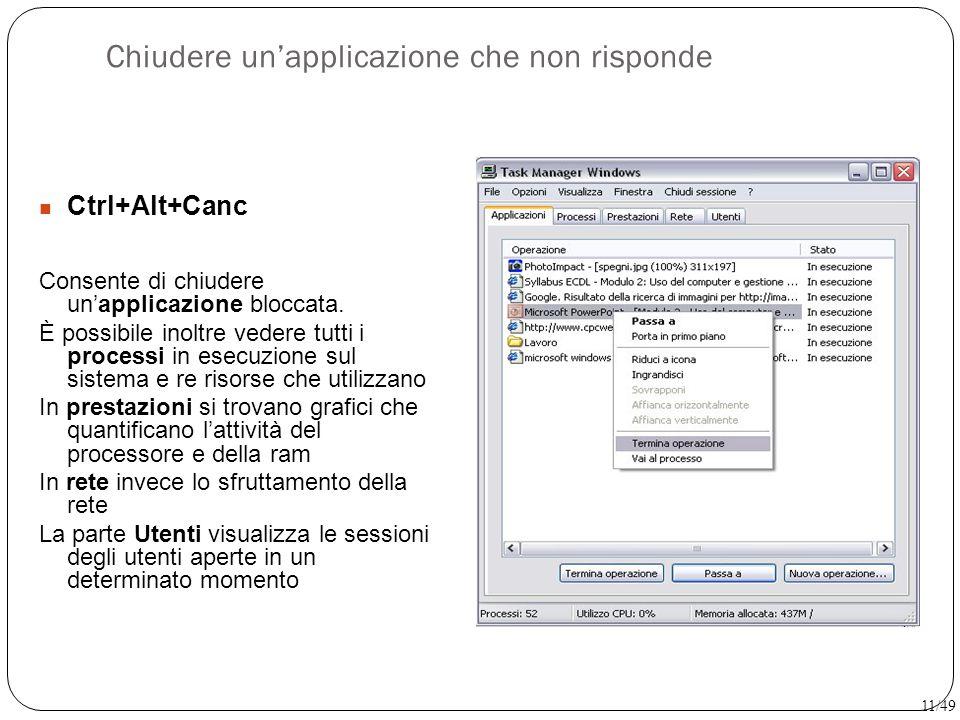 Chiudere un'applicazione che non risponde Ctrl+Alt+Canc Consente di chiudere un'applicazione bloccata. È possibile inoltre vedere tutti i processi in