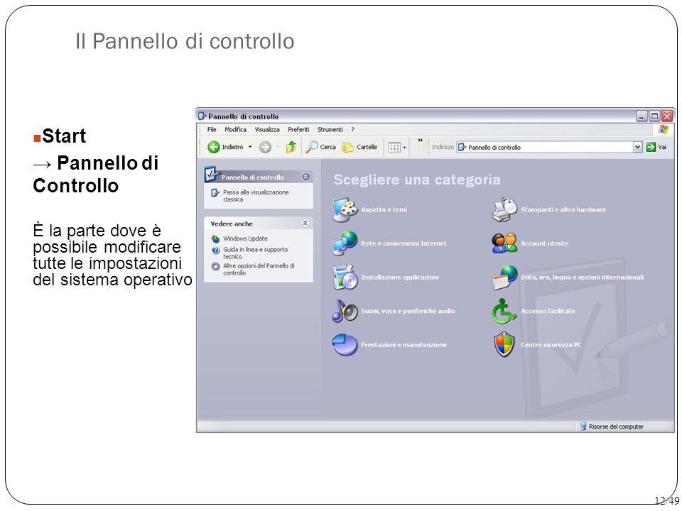 Il Pannello di controllo Start → Pannello di Controllo È la parte dove è possibile modificare tutte le impostazioni del sistema operativo 12/49