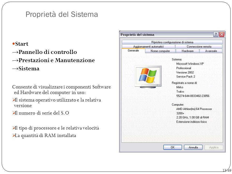 Proprietà del Sistema Start → Pannello di controllo → Prestazioni e Manutenzione → Sistema Consente di visualizzare i componenti Software ed Hardware