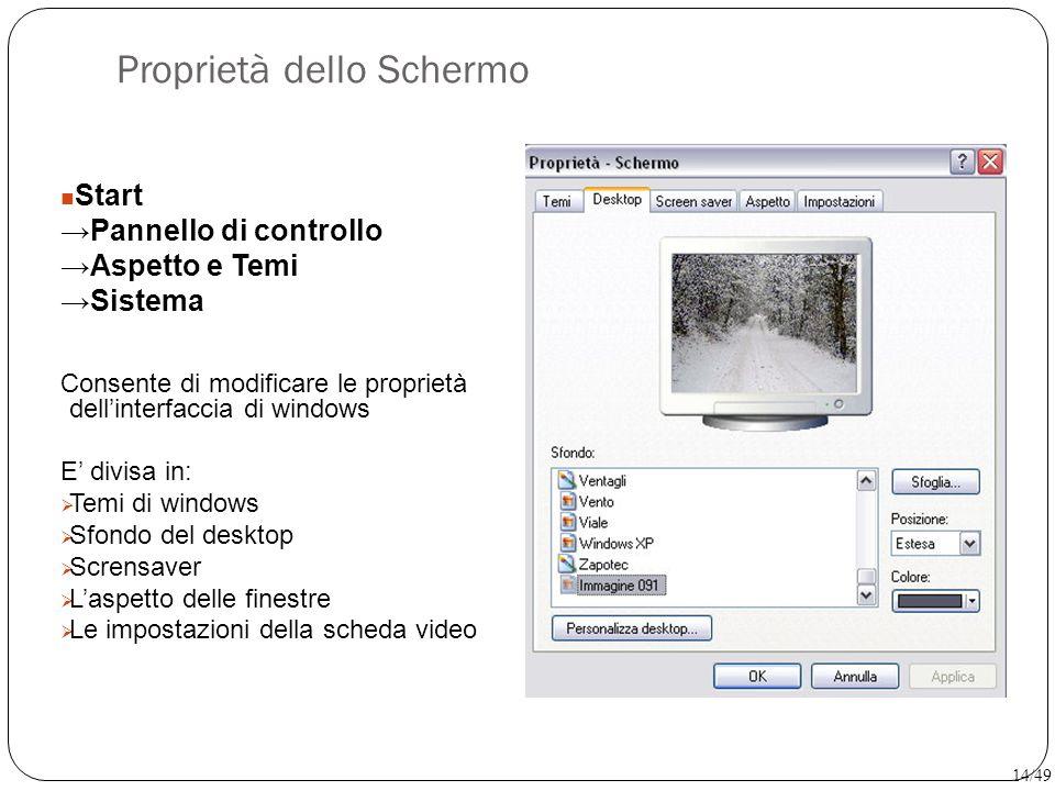 Start →Pannello di controllo →Aspetto e Temi →Sistema Consente di modificare le proprietà dell'interfaccia di windows E' divisa in:  Temi di windows
