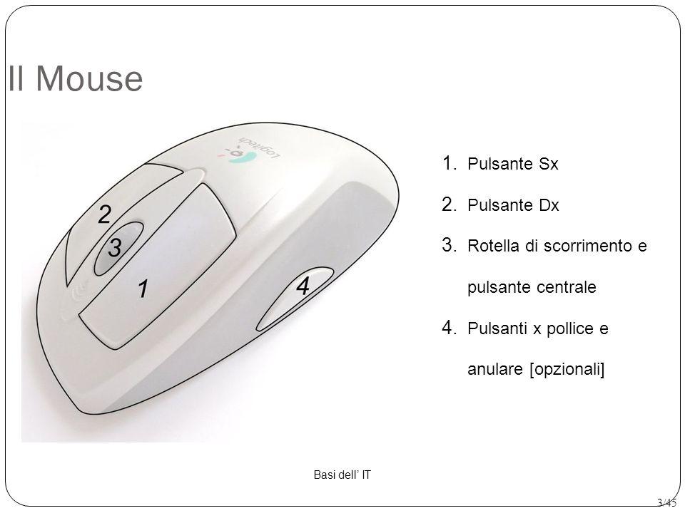 Il Mouse 1. Pulsante Sx 2. Pulsante Dx 3. Rotella di scorrimento e pulsante centrale 4. Pulsanti x pollice e anulare [opzionali] Basi dell' IT 3/45