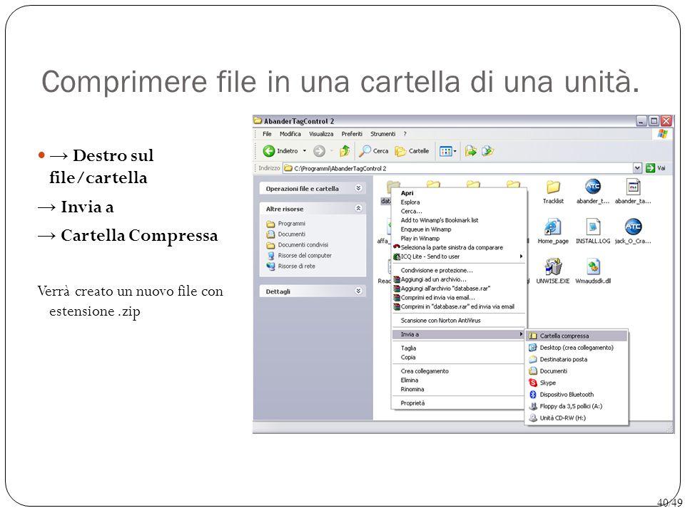 Comprimere file in una cartella di una unità. → Destro sul file/cartella → Invia a → Cartella Compressa Verrà creato un nuovo file con estensione.zip
