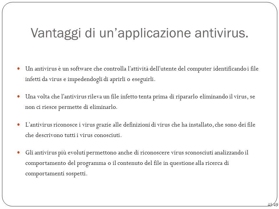 Vantaggi di un'applicazione antivirus. Un antivirus è un software che controlla l'attività dell'utente del computer identificando i file infetti da vi