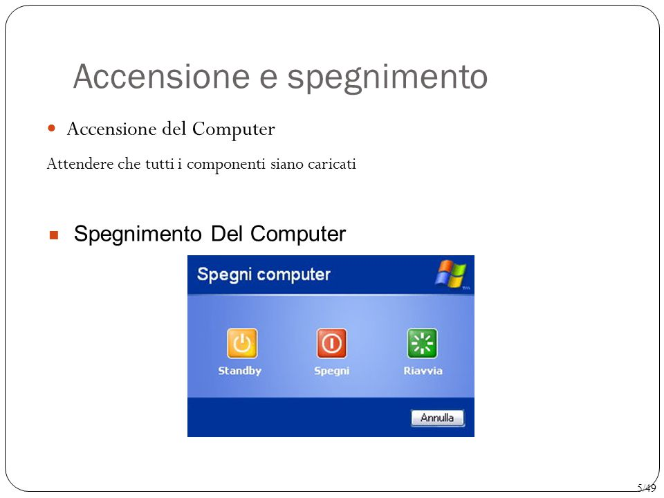 Accensione e spegnimento Accensione del Computer Attendere che tutti i componenti siano caricati Spegnimento Del Computer 5/49