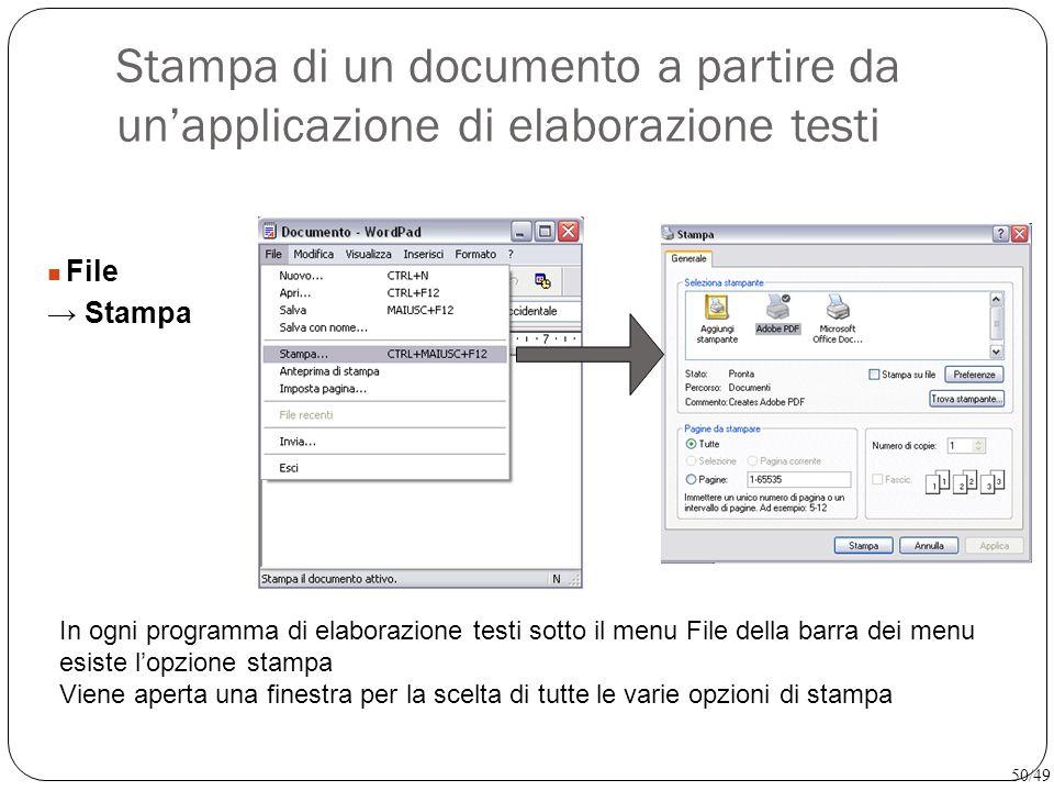 Stampa di un documento a partire da un'applicazione di elaborazione testi File → Stampa In ogni programma di elaborazione testi sotto il menu File del