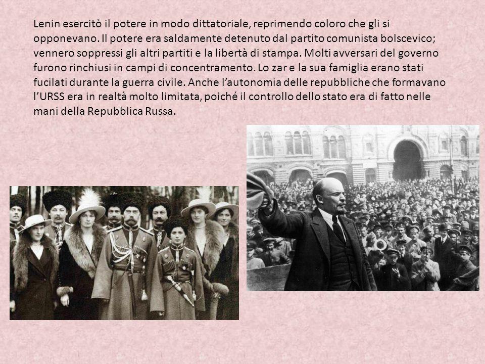 Lenin esercitò il potere in modo dittatoriale, reprimendo coloro che gli si opponevano. Il potere era saldamente detenuto dal partito comunista bolsce