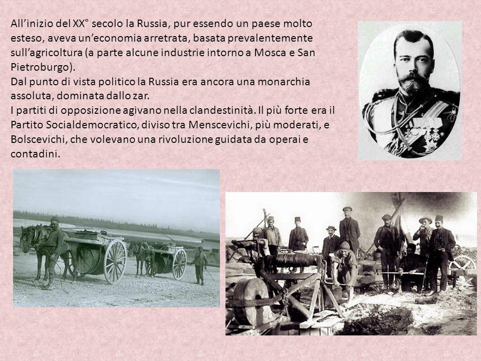 All'inizio del XX° secolo la Russia, pur essendo un paese molto esteso, aveva un'economia arretrata, basata prevalentemente sull'agricoltura (a parte