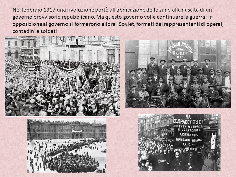 Nel febbraio 1917 una rivoluzione portò all'abdicazione dello zar e alla nascita di un governo provvisorio repubblicano. Ma questo governo volle conti