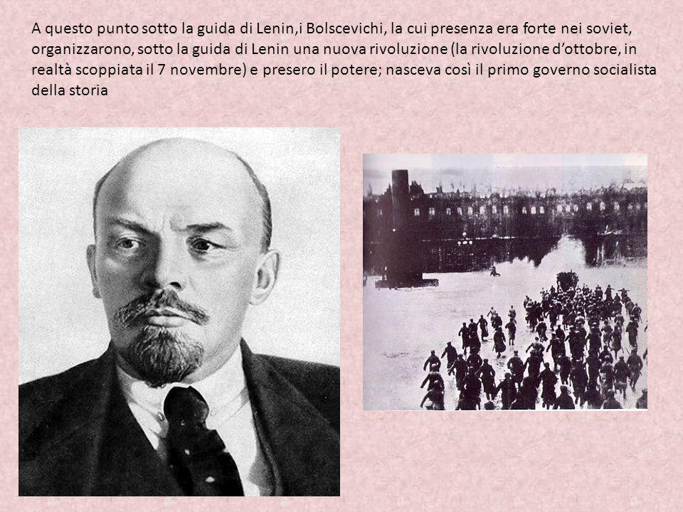 A questo punto sotto la guida di Lenin,i Bolscevichi, la cui presenza era forte nei soviet, organizzarono, sotto la guida di Lenin una nuova rivoluzio