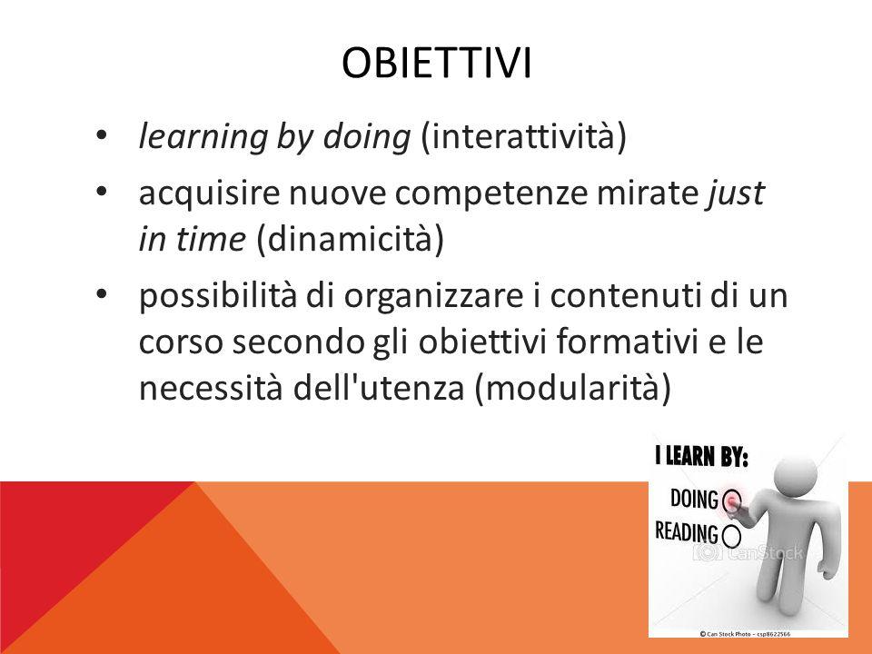 OBIETTIVI learning by doing (interattività) acquisire nuove competenze mirate just in time (dinamicità) possibilità di organizzare i contenuti di un c