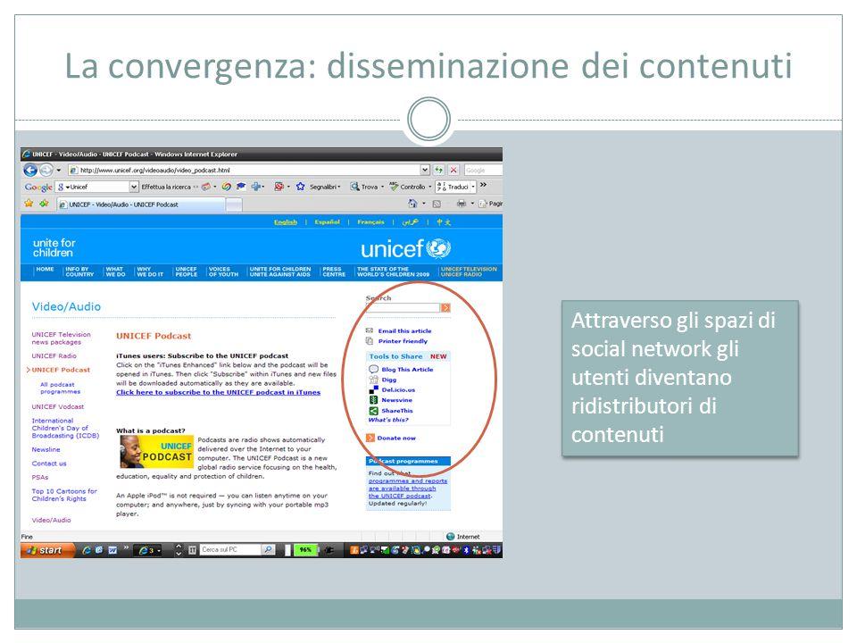 La convergenza: disseminazione dei contenuti Attraverso gli spazi di social network gli utenti diventano ridistributori di contenuti