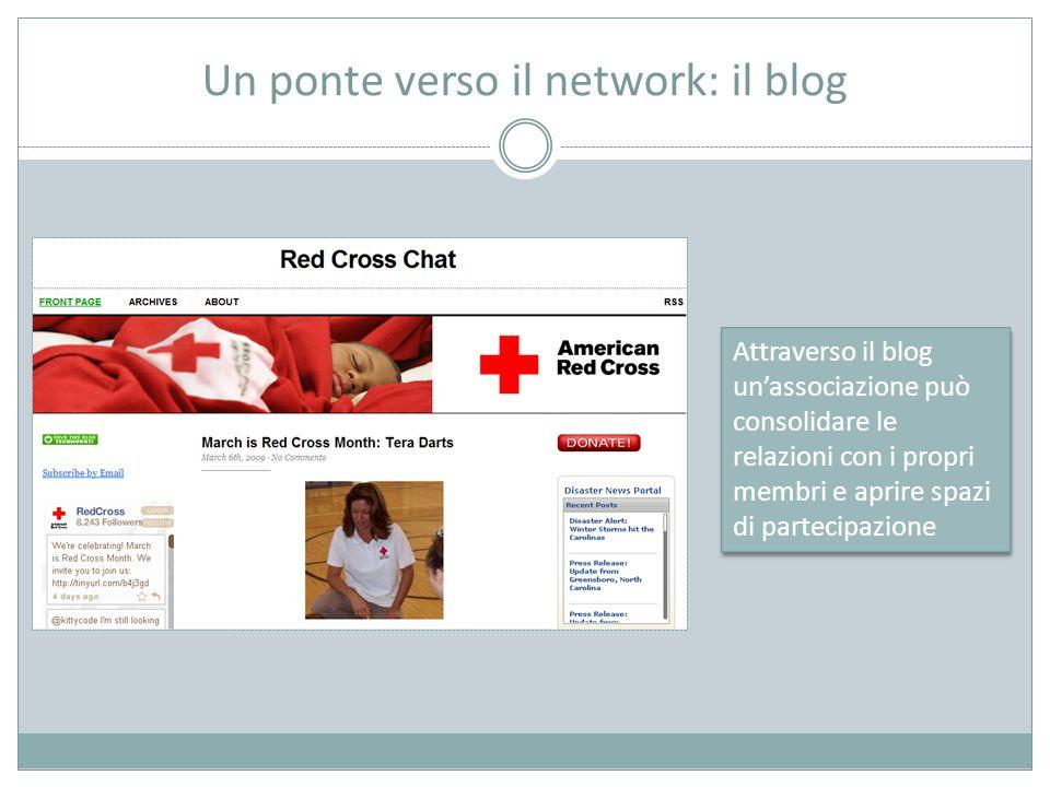 Un ponte verso il network: il blog Attraverso il blog un'associazione può consolidare le relazioni con i propri membri e aprire spazi di partecipazione