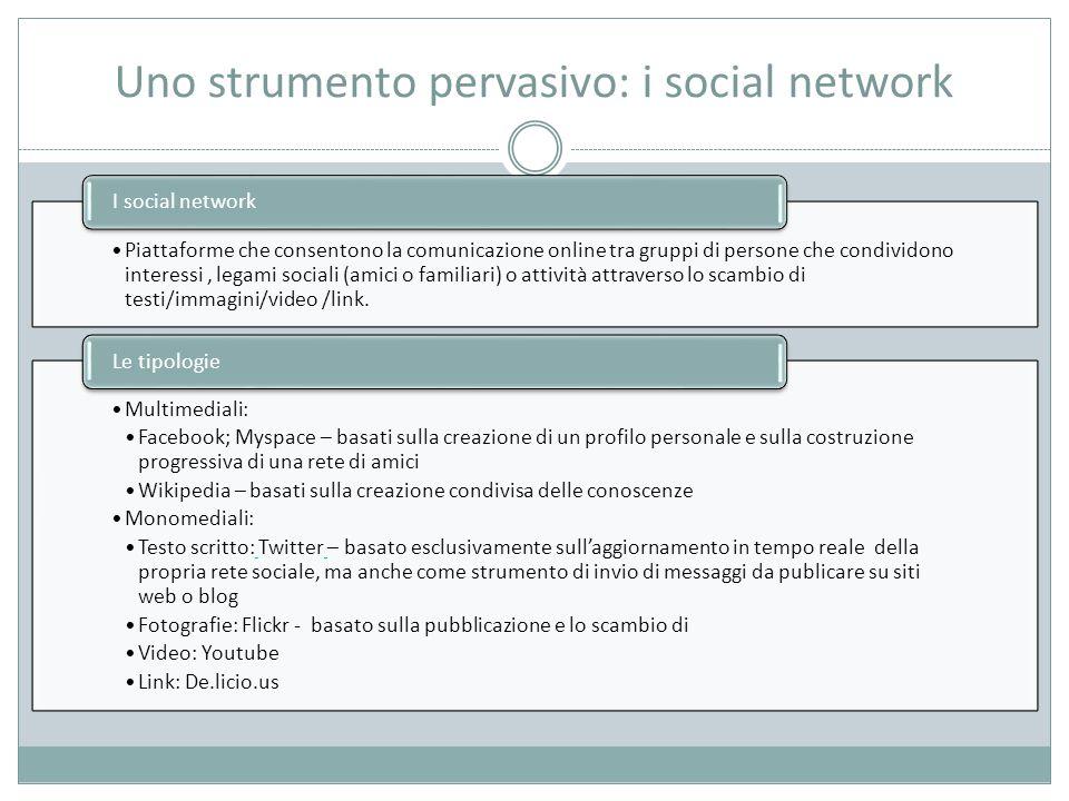 Uno strumento pervasivo: i social network Piattaforme che consentono la comunicazione online tra gruppi di persone che condividono interessi, legami sociali (amici o familiari) o attività attraverso lo scambio di testi/immagini/video /link.
