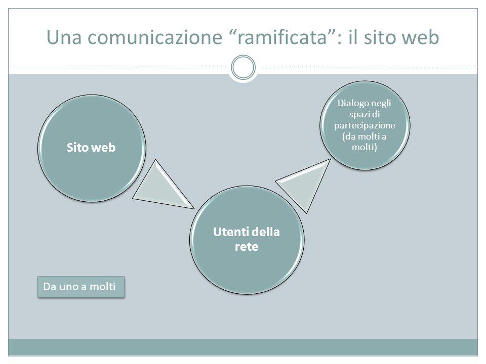 Una comunicazione ramificata : il sito web Sito web Utenti della rete Dialogo negli spazi di partecipazione (da molti a molti) Da uno a molti