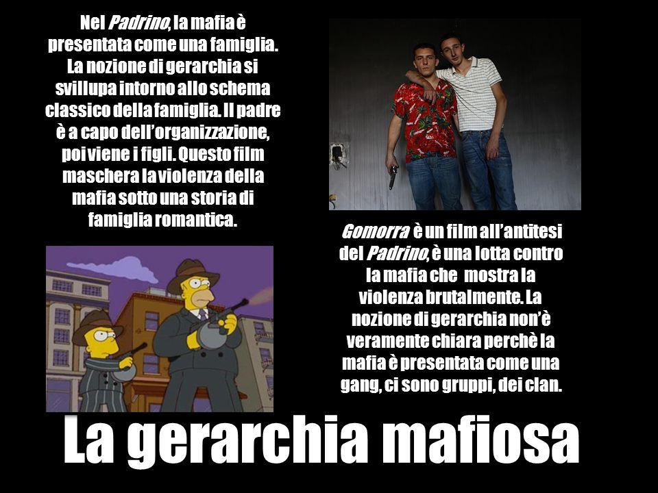 La gerarchia mafiosa Nel Padrino, la mafia è presentata come una famiglia. La nozione di gerarchia si svillupa intorno allo schema classico della fami