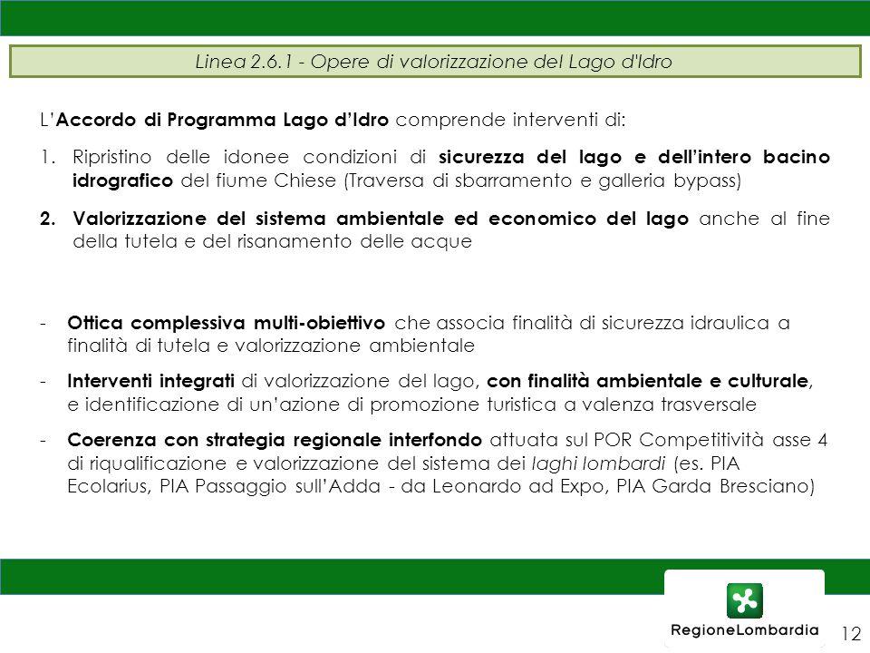 Linea 2.6.1 - Opere di valorizzazione del Lago d'Idro 12 L' Accordo di Programma Lago d'Idro comprende interventi di: 1.Ripristino delle idonee condiz