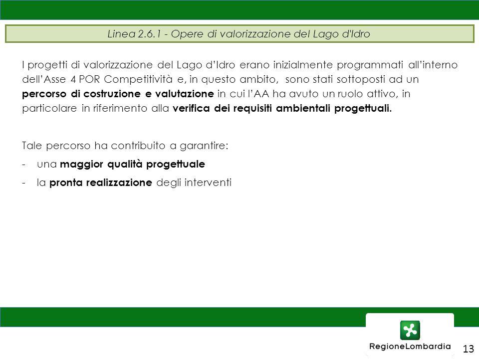 13 Linea 2.6.1 - Opere di valorizzazione del Lago d'Idro I progetti di valorizzazione del Lago d'Idro erano inizialmente programmati all'interno dell'