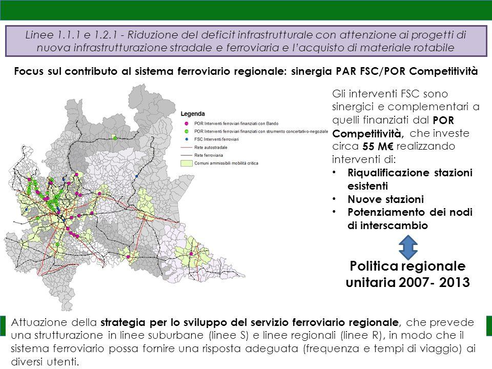 15 Focus sul contributo al sistema ferroviario regionale: sinergia PAR FSC/POR Competitività Gli interventi FSC sono sinergici e complementari a quelli finanziati dal POR Competitività, che investe circa 55 M€ realizzando interventi di: Riqualificazione stazioni esistenti Nuove stazioni Potenziamento dei nodi di interscambio Politica regionale unitaria 2007- 2013 Attuazione della strategia per lo sviluppo del servizio ferroviario regionale, che prevede una strutturazione in linee suburbane (linee S) e linee regionali (linee R), in modo che il sistema ferroviario possa fornire una risposta adeguata (frequenza e tempi di viaggio) ai diversi utenti.