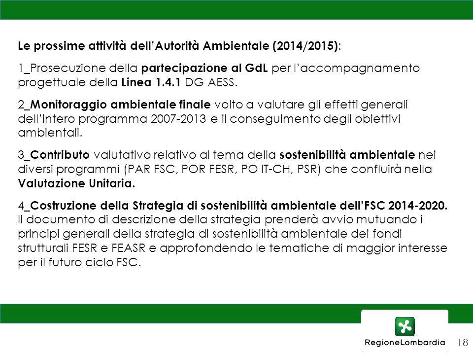 Le prossime attività dell'Autorità Ambientale (2014/2015) : 1_Prosecuzione della partecipazione al GdL per l'accompagnamento progettuale della Linea 1.4.1 DG AESS.
